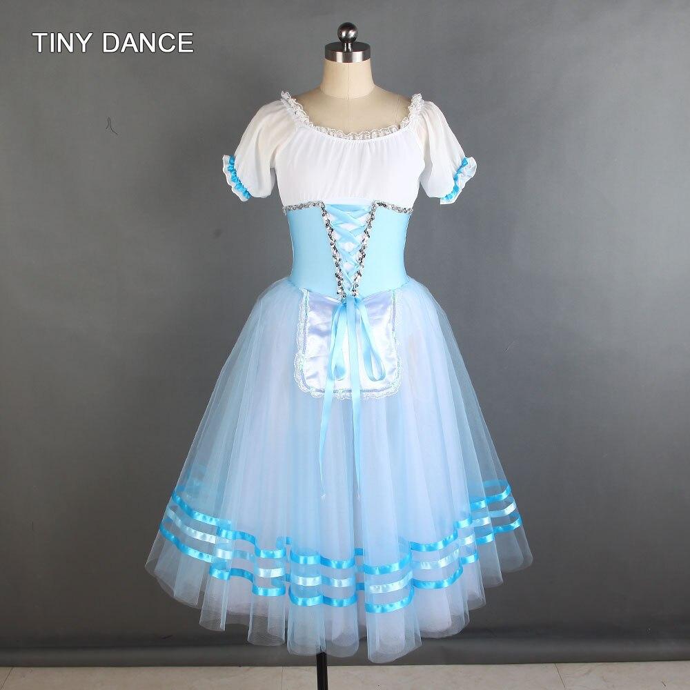 Céu azul e branco ballet dança tutu traje puff manga elastano corpete com tule longo tutu bailarina vestido de dança 20003