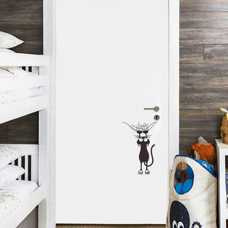 Купить с кэшбэком Cartoon cat climbing Wall edge Wall Sticker home decoration for kids rooms Mural Art Decals animals door stickers wallpaper
