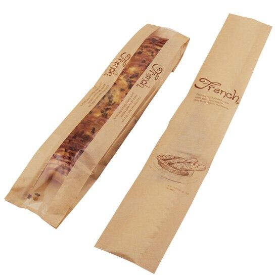100 unids/lote-(10cm + 4cm)x58cm bolsas de Embalaje de papel bolsas de pan francés DIY bolsa de hornear envío gratis