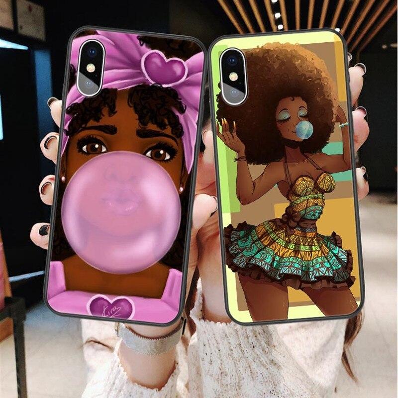 De lujo de belleza Africana Afro Puffs negro chica melanin poppin princesa TPU caso para iPhone X SE 5 5S 6 6 Plus 7 8 Plus XS XE XS.