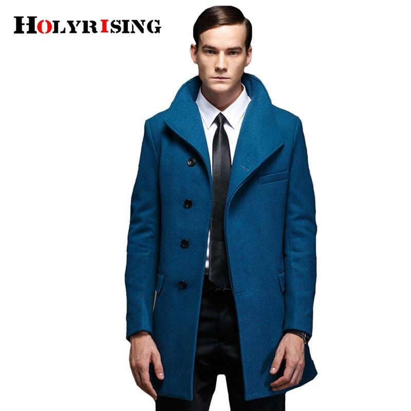 Holyrising hombres abrigos de lana Casual abrigos largos y chaquetas Stand Collar sobretodo abrigo clásico ropa para hombre 4 colores M-4XL 18636-5