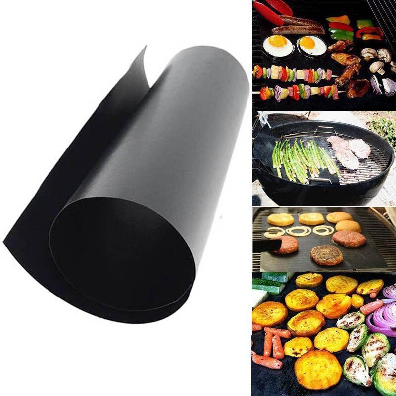 40*30 cm BBQ Grill Mat set de 2 hojas reutilizable antiadherente hacer a la parrilla fácil BBQ accesorios barbacoa revestimientos para hornear barbacoa
