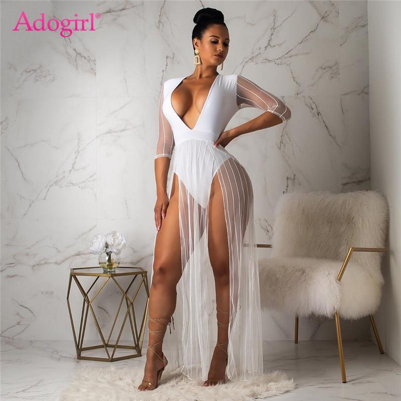 Adogirl Sheer Mesh Patchwork Bodysuit Dress Sexy Deep V Neck Half Sleeve High Slit Maxi Night Club Party Dress Summer Vestidos