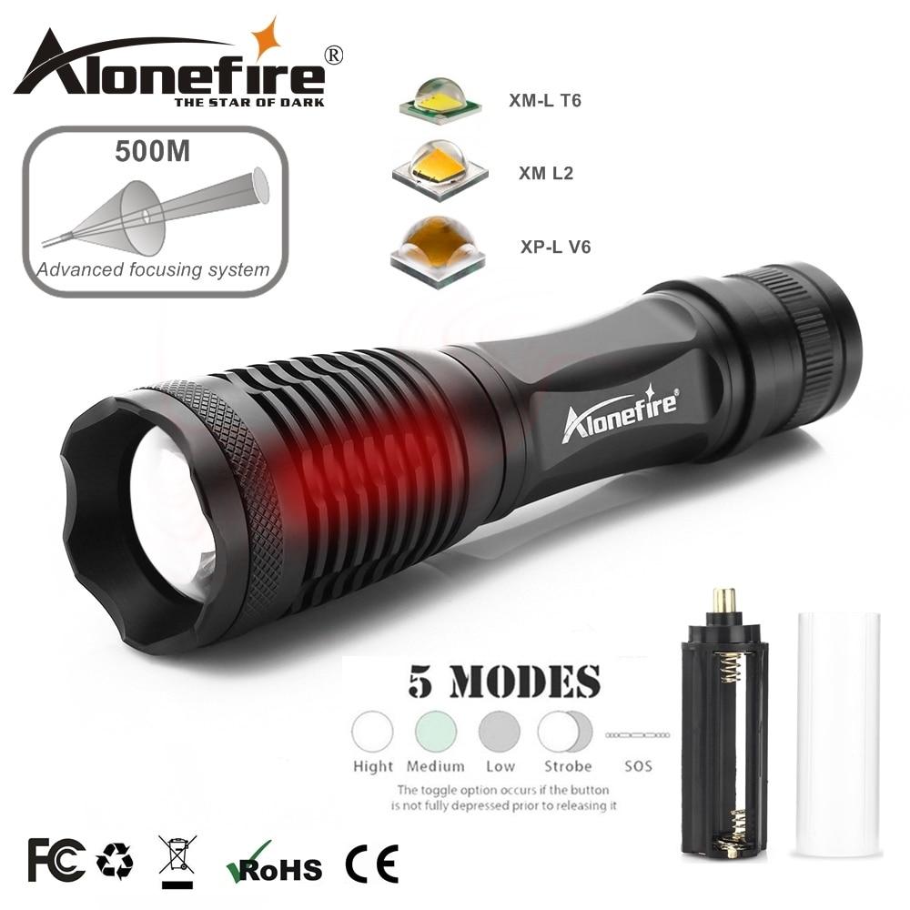 AloneFire E007 CREE XP-L V6 T6 LED trabajo Zoom linterna de reflector lámpara de Camping para batería recargable AAA 18650
