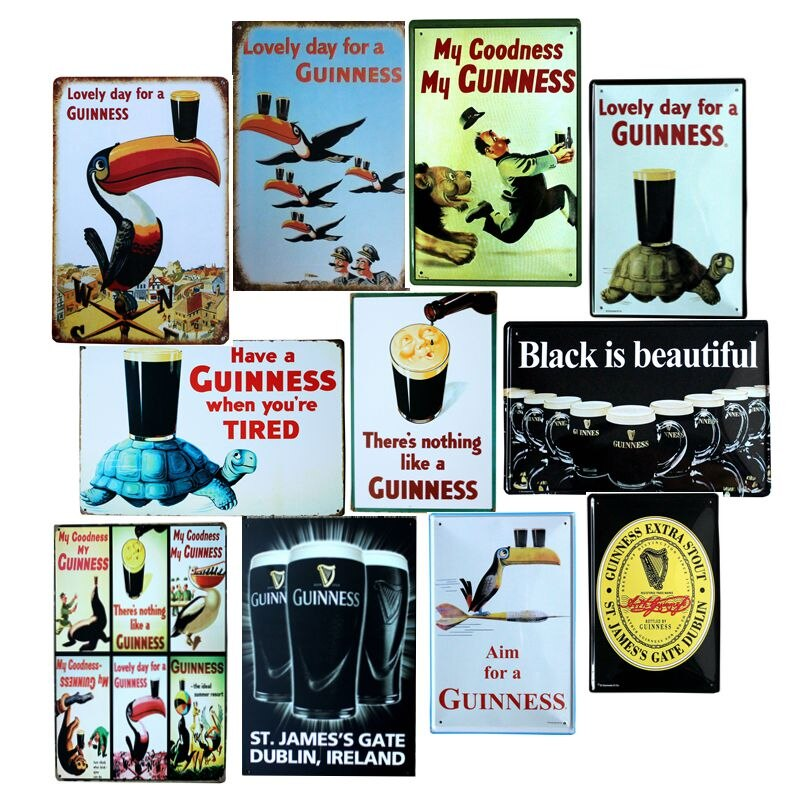 Hermoso día para una Guinness pintura metálica retro cartel pared Bar hogar arte decoración Cuadros 30X20CM A-5820