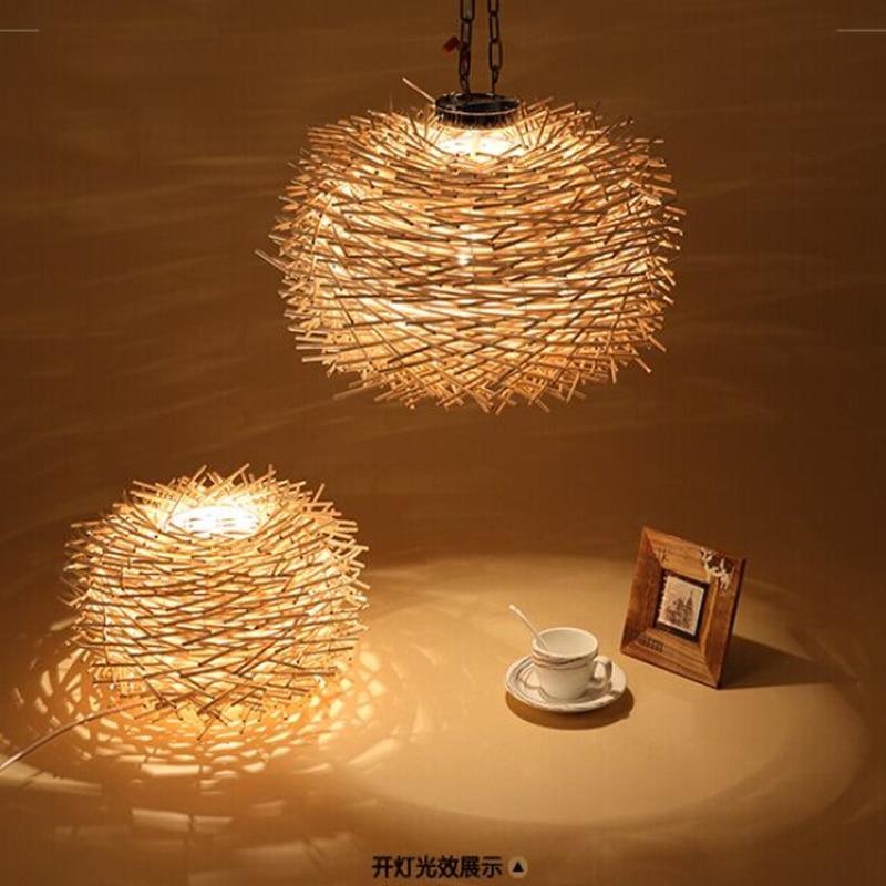 Luz colgante de madera creativa nórdica 220v E27 Luz de suspensión hecha a mano forma de Nido de Pájaro lámpara colgante bombillas incandescentes iluminación