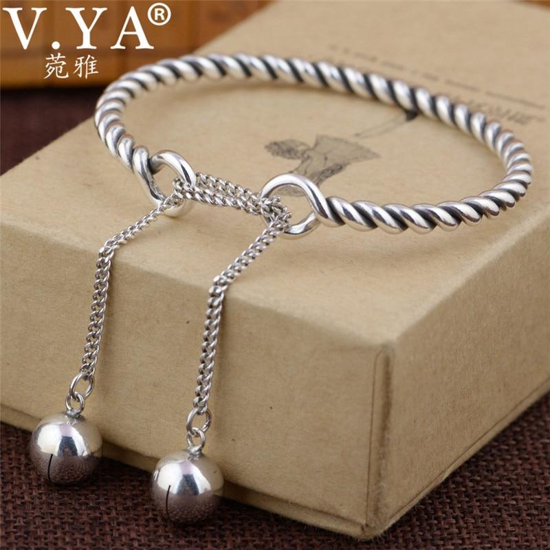 V.YA brazaletes de plata sólida 925 pulseras ajustables para mujeres brazalete de lujo joyería de plata esterlina de alta calidad