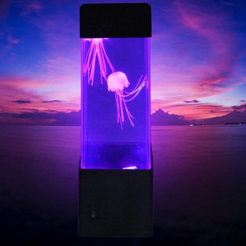 Настольная лампа с медузами для аквариума, светодиодная настольная лампа для аквариума, ночник, меняющая цвет, лампа для украшения дома, вол...
