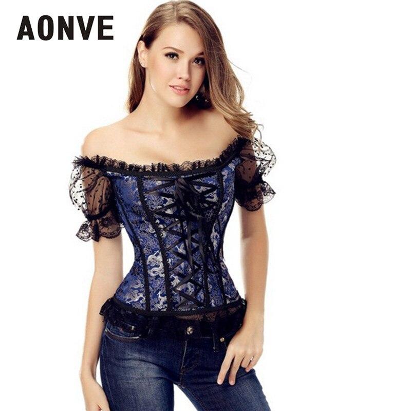 AONVE Corset Sexy corsés y Bustiers encaje retrofuturista Up Top gótico ropa Corselet Lencería sensual color azul corsé burlesco blanco