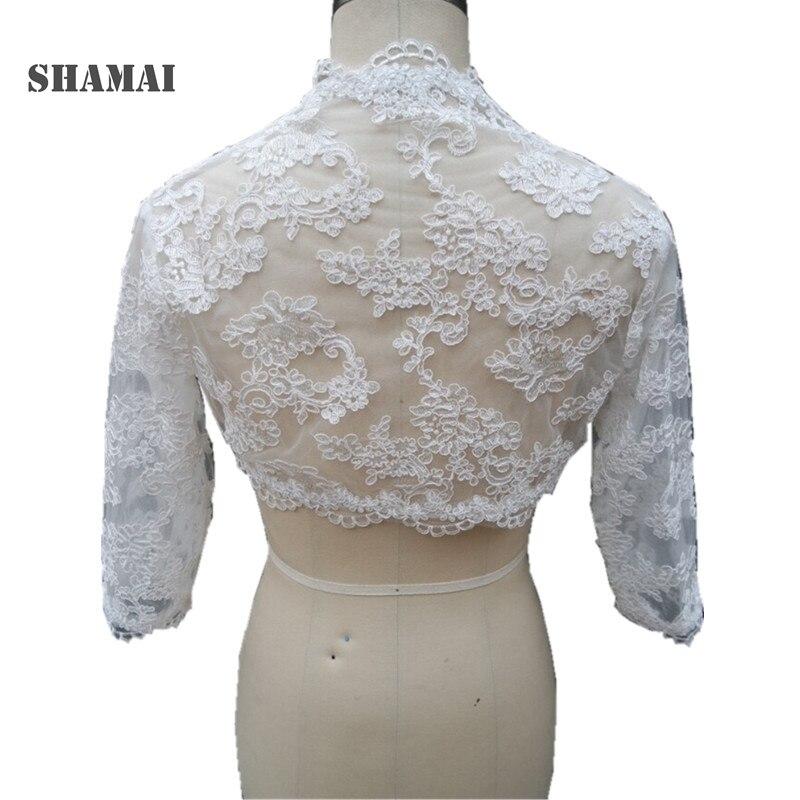Shamai três quartos manga laço casamento jaqueta branco casaco de noiva marfim casamento envolve bolero