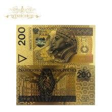 Billet de Collection PLN pologne or   10 pièces/lot, lot 200, billets dor du pape, pour Collection, 999 Manches en plastique polymère sans manche