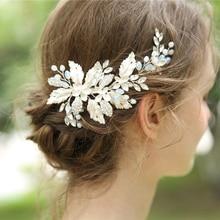 Bridal Hair Accessories Tiara Wedding Hair Comb Clip Flower Women Wedding Hair Jewelry Headband Pearl Rhinestone Bride Headpiece