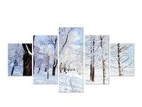 Toile de paysage de montagne et de foret de neige  5 pieces  peintures modernes pour la maison
