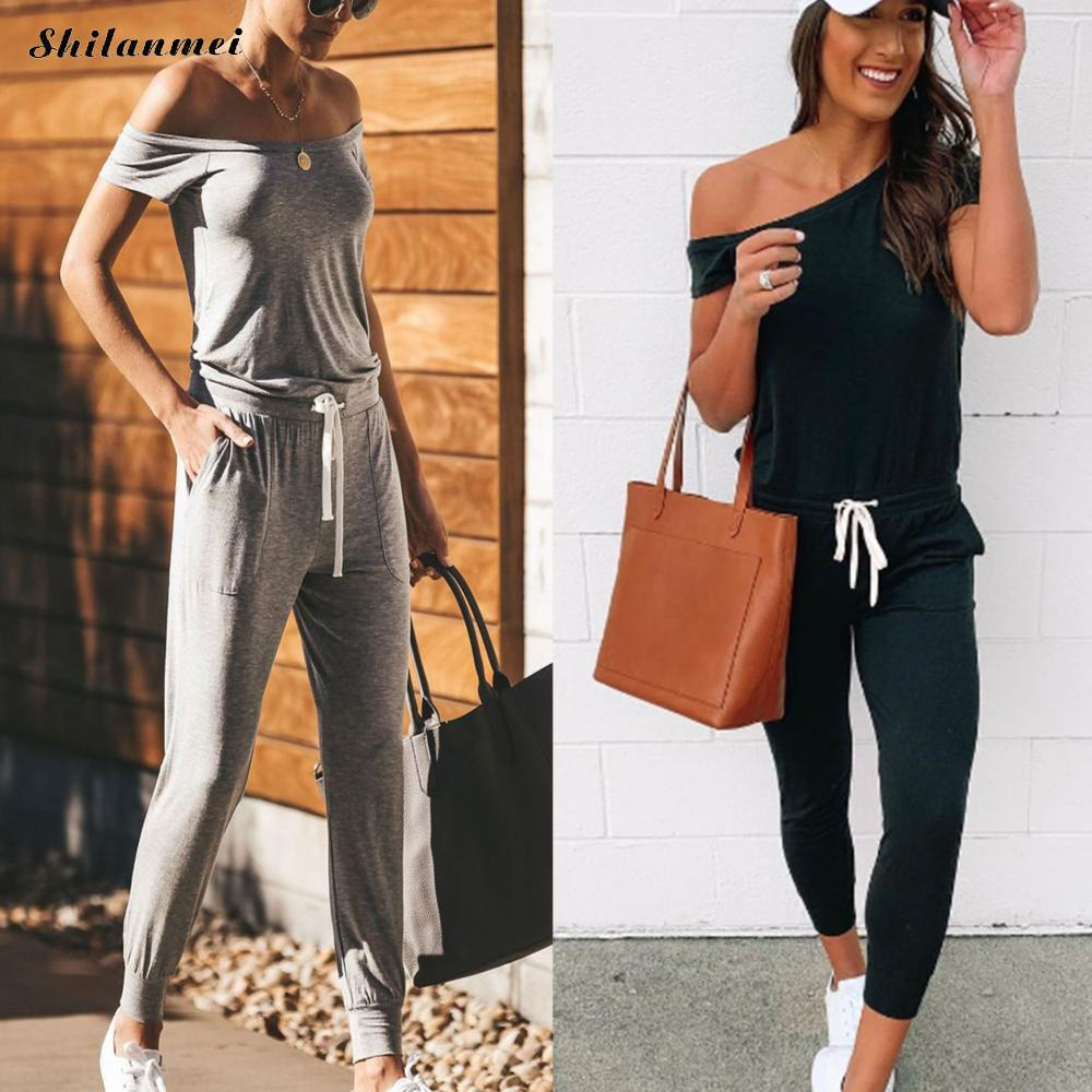 2019 Summer Sashes Sexy Bodycon Long Rompers Women Overalls Casual Off Shoulder Tie Waist Solid Jumpsuits Short Sleeve Pocket grey off shouder elastic waist jumpsuits