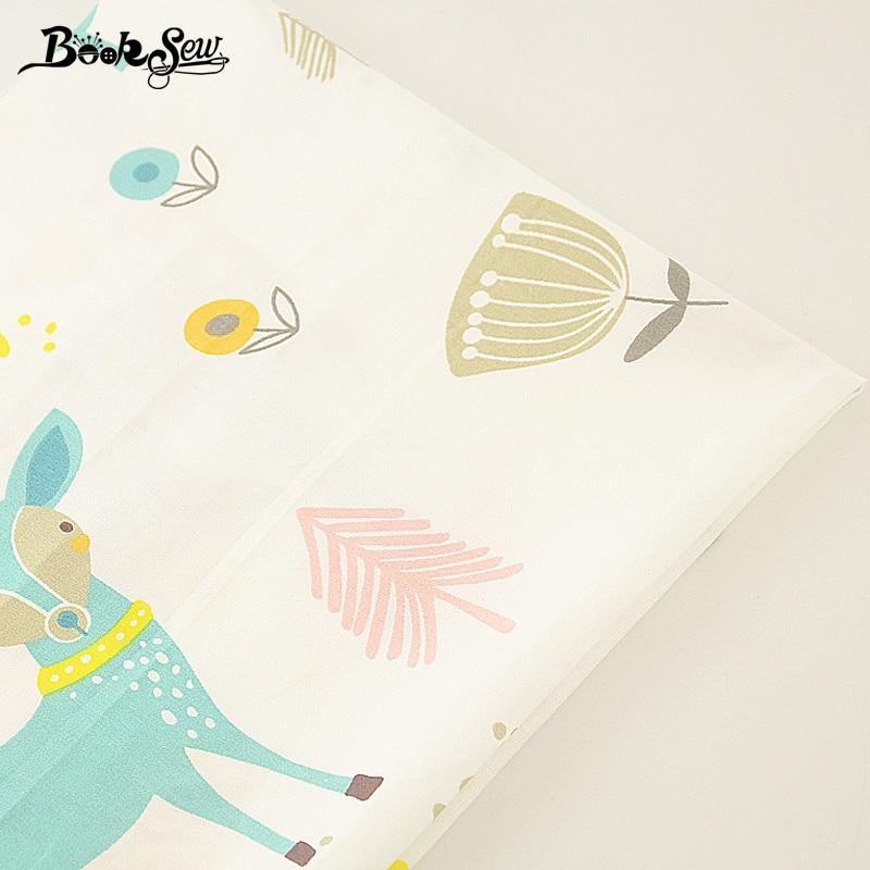 Tela de sarga de algodón 100% Booksew, diseño de viñetas de animales, textiles para el hogar para Patchwork, ropa de cama, almohada para bebé, acolchado, tela CM