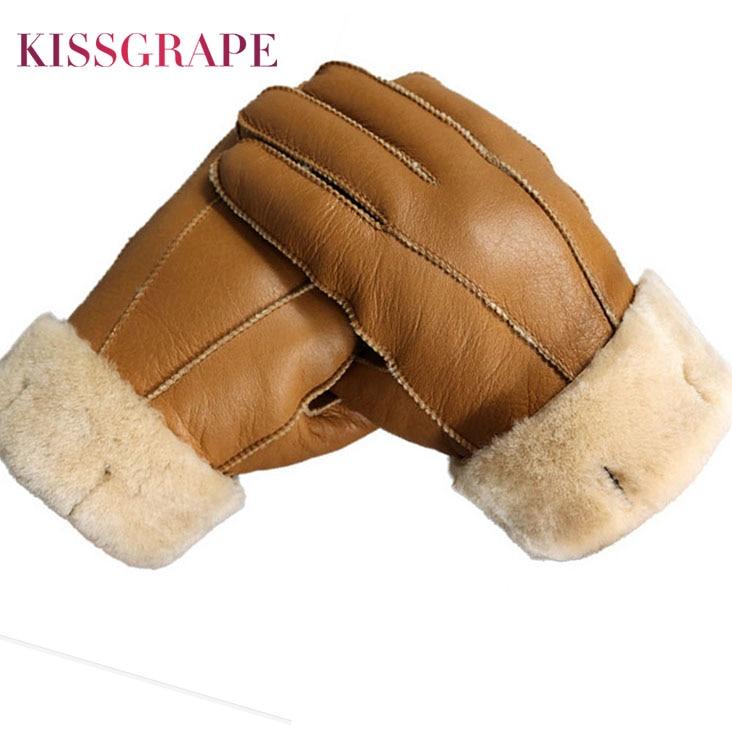 New Men Winter Gloves Warm Genuine Sheep Fur Gloves for Men Thermal Goat Fur Cashmere Real Leather L