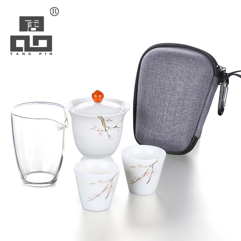 Tetera de cerámica TANGPIN, tetera portátil gaiwan, juegos de té de viaje con bolsa de viaje