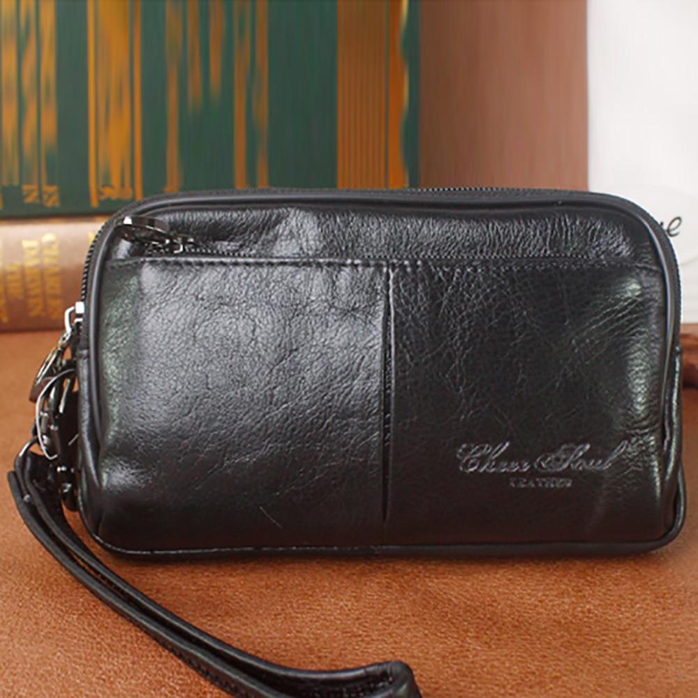 Мужской кошелек, из натуральной кожи, многофункциональный, с ремнем на талии