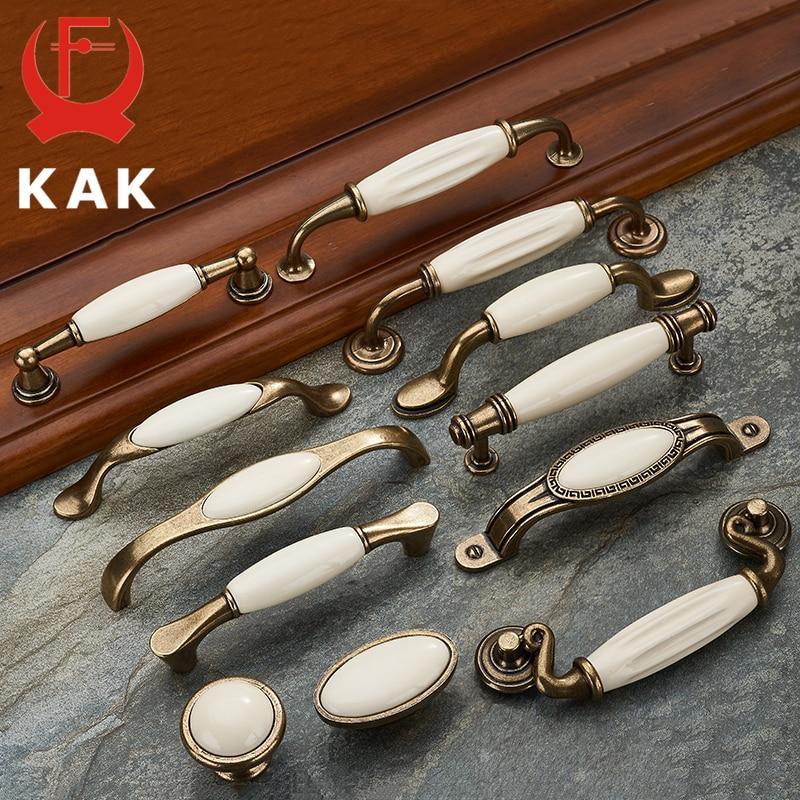 KAK-مقابض أدراج من سبائك الزنك ، 5 قطع ، عتيقة ، برونزية ، سيراميك ، أبيض ، للأبواب والأدراج والخزائن والأثاث الأوروبي