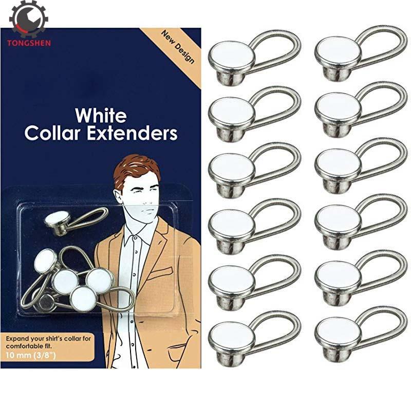 Extensores de cuello de Metal blanco de 12 Uds. Extensor de cuello elástico para la expansión de camisas de vestir de hombre diseñadas para botón de Metal con sobrepeso