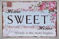 Plaque de bienvenue en fer blanc  1 piece  maison douce  maison  signe de chambre murale  grotte pour homme  decoration artistique  affiche de livraison directe en metal