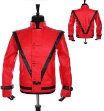 Manteau cuir Cosplay MJ Costume Michael Jackson Thriller cuir veste rouge et gant Jean Billie gratuit