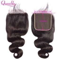 Queenlike onda do corpo 6x6 fechamento pré arrancado com o cabelo do bebê linha fina natural brasileiro remy cabelo grande laço tamanho suíço fechamento do laço
