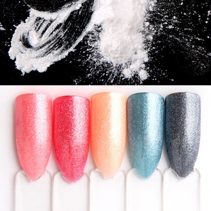 1g decoración de uñas con perlas de diamante polvo de sirena polvo pigmento blanco brillante DIY decoraciones de uñas regalo para Navidad 2020