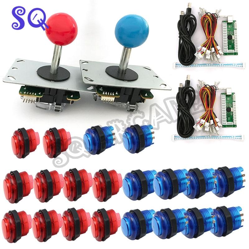 Бесплатная доставка DIY аркадная игра набор для ПК/PS2/PS3 USB нулевой задержки кодер + копия SANWA Джойстик + Led кнопка + кабель для PCB