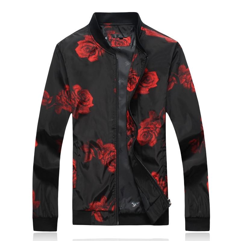2018 Autumn New Arrival Men's Jacket Fashion Floral Printing Zipper Jacket Men Casual Stand Collar Flower Mens Coat Jackets 6XL