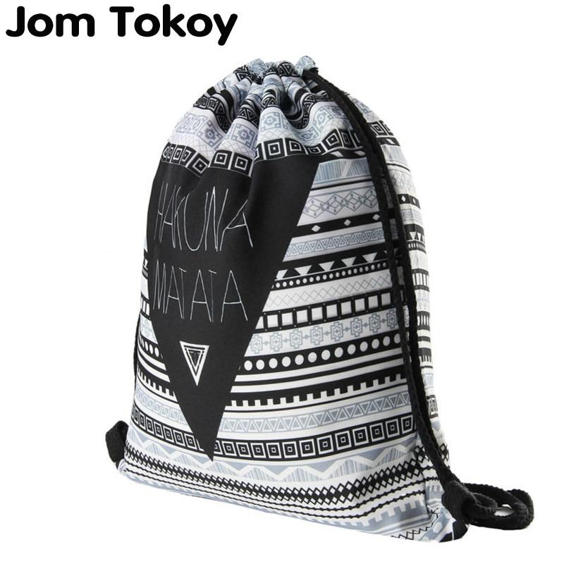 deanfun drawstring bag hot selling 3d printing softback man woman backpacks s89 Hakuna Matata Women Geometric Backpack 3D Printing Travel Softback  Women Mochila Drawstring Bag Mens Backpacks