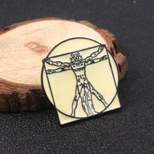 SG Leonardo da Vinci Badge en émail, broches pour broches vitruvienne porte-clé en émail pour hommes, bijoux, cadeau de noël