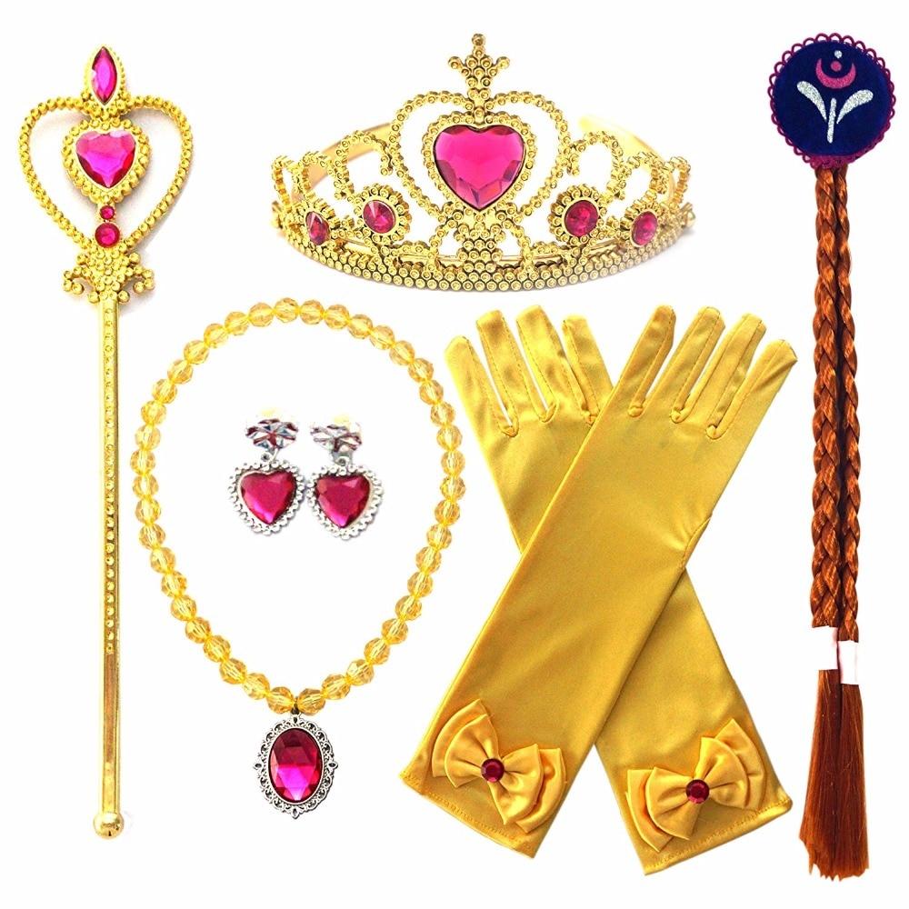 Princesa elsa anna acessórios de traje ouro princesa trança coroa peruca varinha mágica luva para congelado aniversário menina festa suprimentos