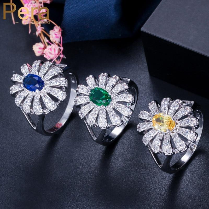 Pera anillos de dedo clásicos de Color plateado de circonia cúbica con forma ovalada de flor grande, accesorios de joyería para mujeres, disfraces de fiesta R025