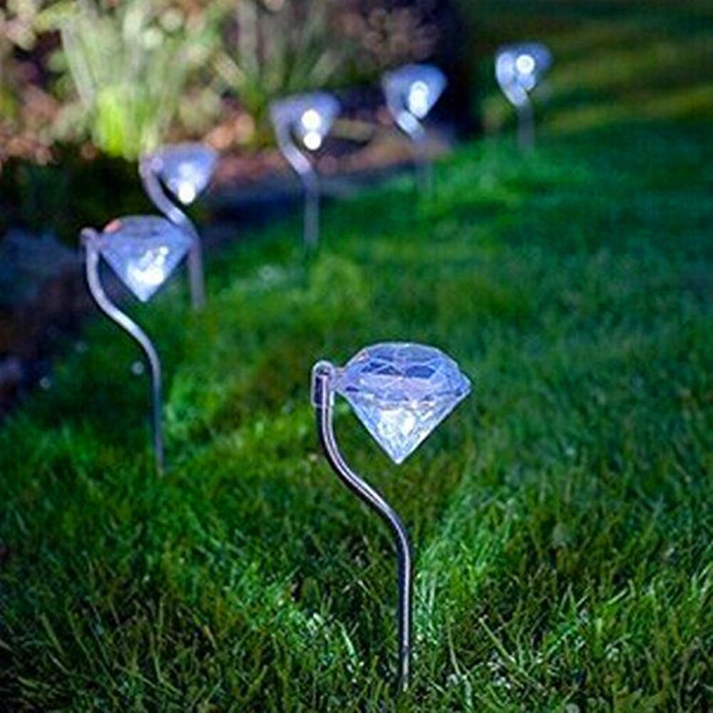 4 pçs/set led solar powered jardim luz colorido ao ar livre lâmpadas led caminho estaca festa decoração diamantes gramado luz solar luzes