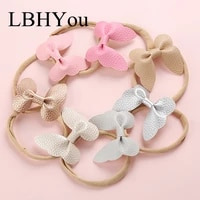 7pcslot handmade faux pu leather butterfly nylon headbandscandy color soft nylon hair accessories for baby girls head wear