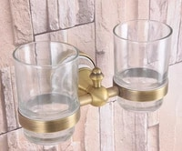 antique brass cup tumbler holders toothbrush holder with 2 glass cups wall mounted ceramic bathroom accessories zba583