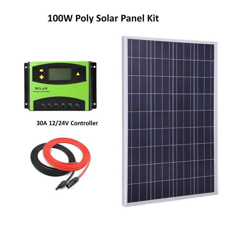 مجموعة نظام الألواح الشمسية 100 وات ، مع خلايا سيليكون متعددة الكريستالات 30A LCD ، وحدة تحكم بالطاقة الشمسية وكابل