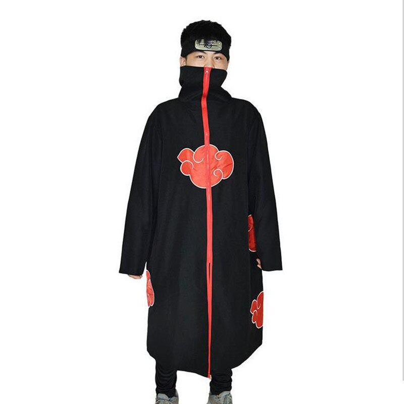 Adult Naruto cosplay Costume Akatsuki Cloak Naruto Uchiha Itachi Halloween cosplay Costume for men and women unisex halloween christmas cloak cape adult men women hooded long cloak black costume dress coats death wizard cosplay costume