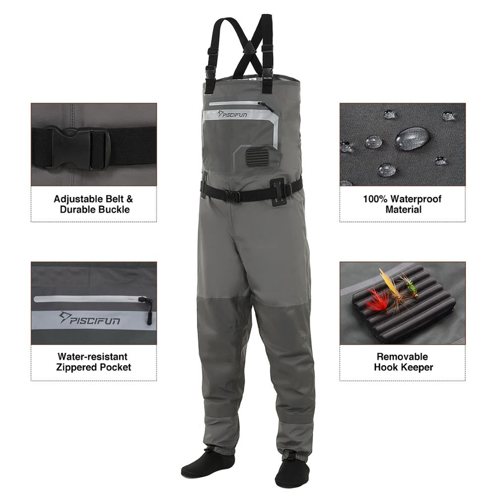 Piscifun Fishing Waders 3-Layer Polyester Breathable Waterproof Stocking Foot Fly Fishing Chest Waders Pants enlarge