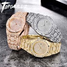 TOPGRILLZ ICED OUT Uhr Quarz Gold HIP HOP Handgelenk Uhren