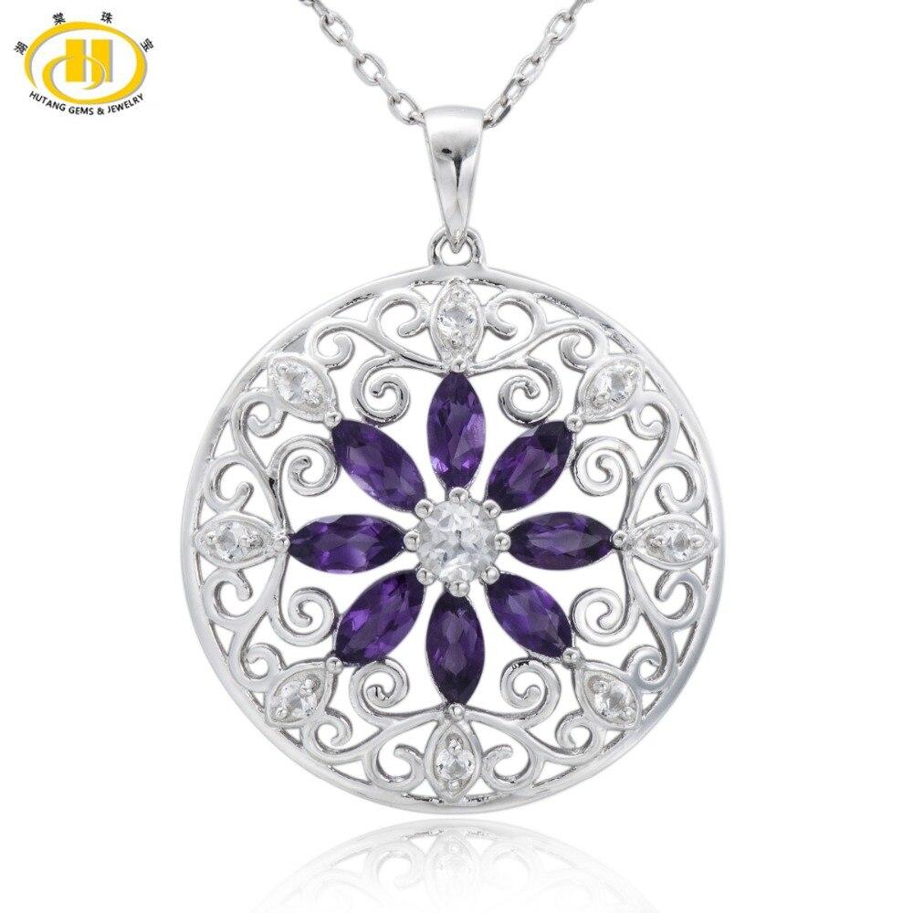 Joyería de piedra Hutang 2,42 CT amatista Natural, Topacio blanco sólido 925 Plata de Ley filigrana flor colgante collar para mujer