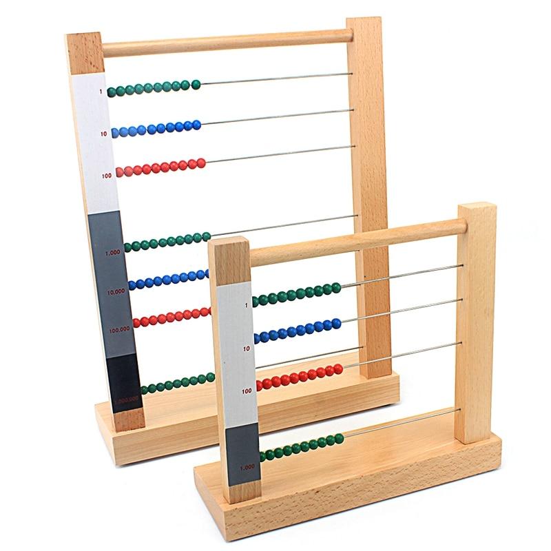 طفل خشبي مونتيسوري الرياضيات لعبة الخرز المعداد لعبة الحوسبة رف سنت عشرة مئات هوساندز الخرز لعب للأطفال بنين بنات