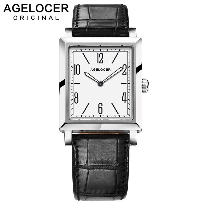 Switzerland AGELOCER Watches Women Luxury Luminous Waterproof Quartz Watch Ladies Design Clock Genuine Leather Strap Wrist Watch