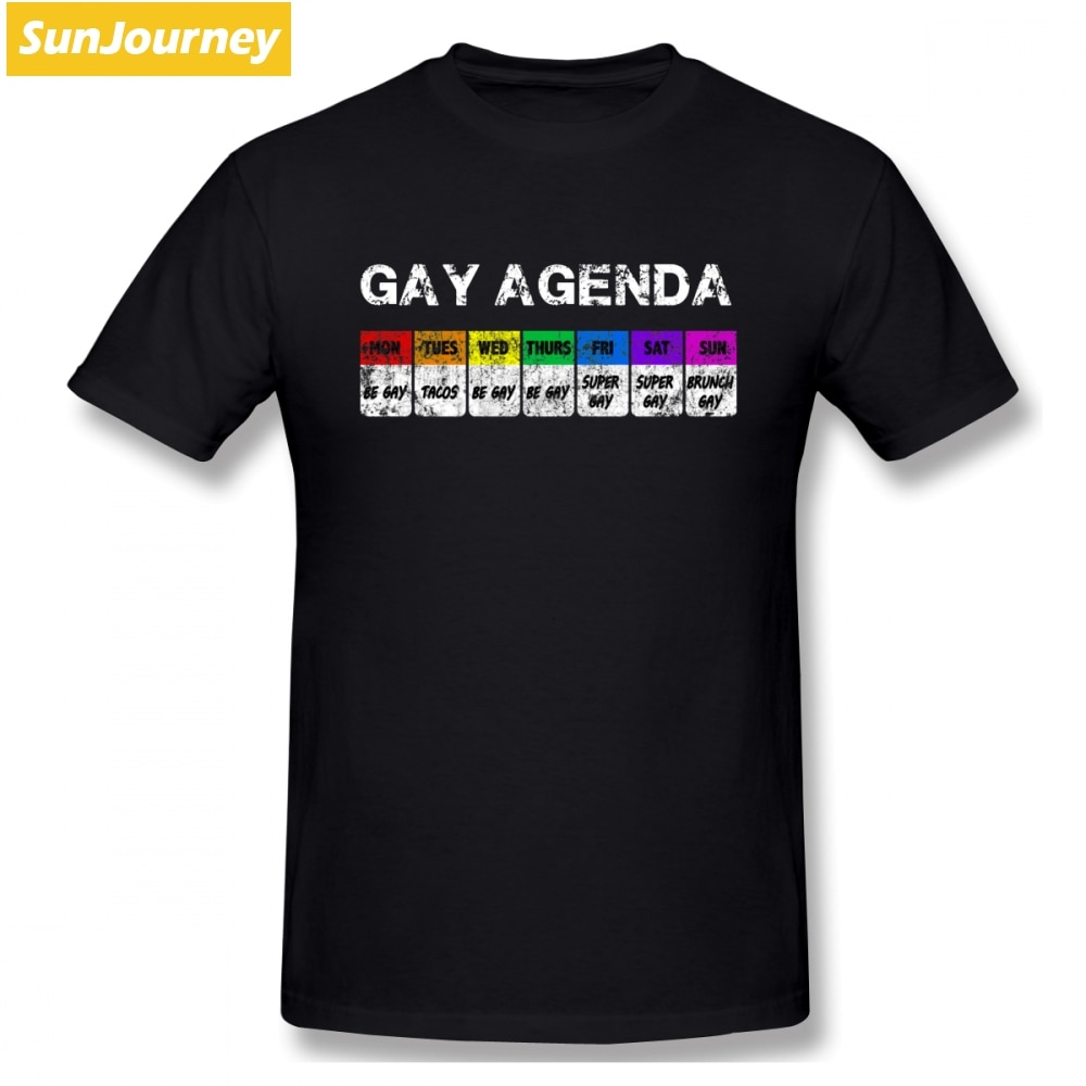 Gay Agenda hombres camiseta Hipster Rashguard tamaño grande algodón Crewneck manga corta Camisetas personalizadas
