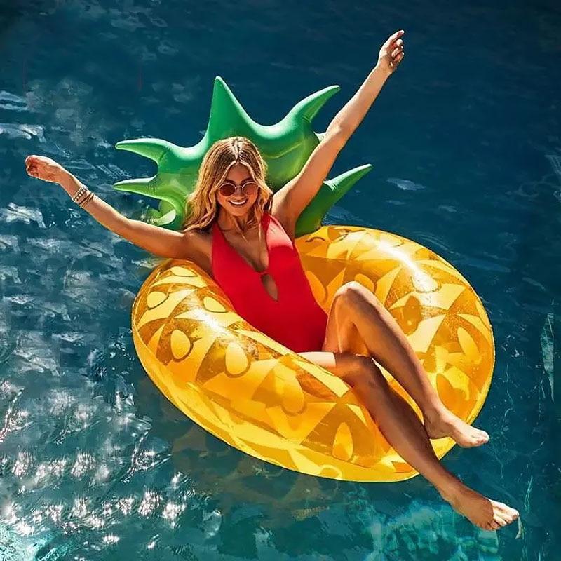 Piña inflable natación anillo gran vida boya Hawaii verano diversión piscina playa suministros de decoración para fiesta niños adultos flotador Juguetes