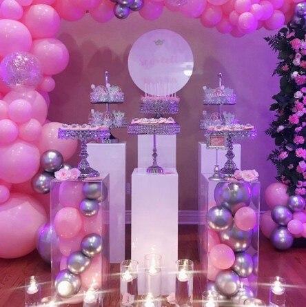 Soporte de exhibición de columna cuadrada de metal Pilar de camino flores florero pastel artesanías soporte de exhibición de postre decoración de centros de mesa de boda