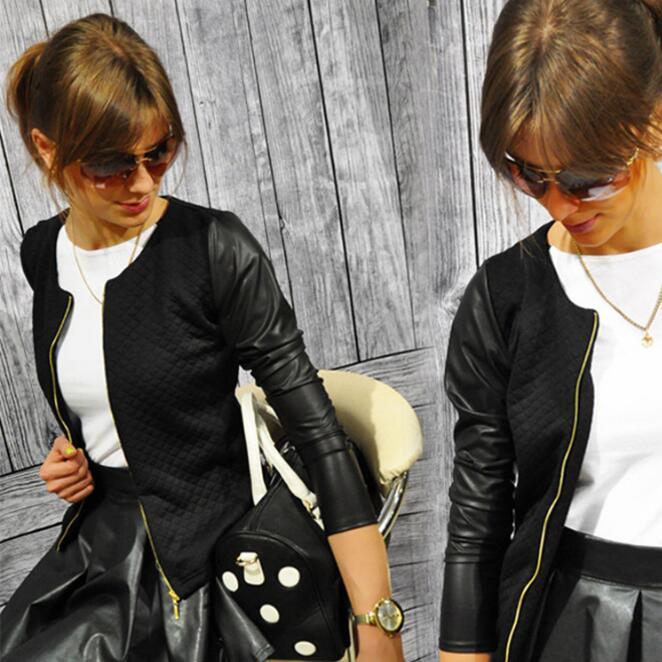 New Women Basic Coats Jackets Spring Black Zipper Crop Pu Jacket Punk Style Bandage Women PU Leather