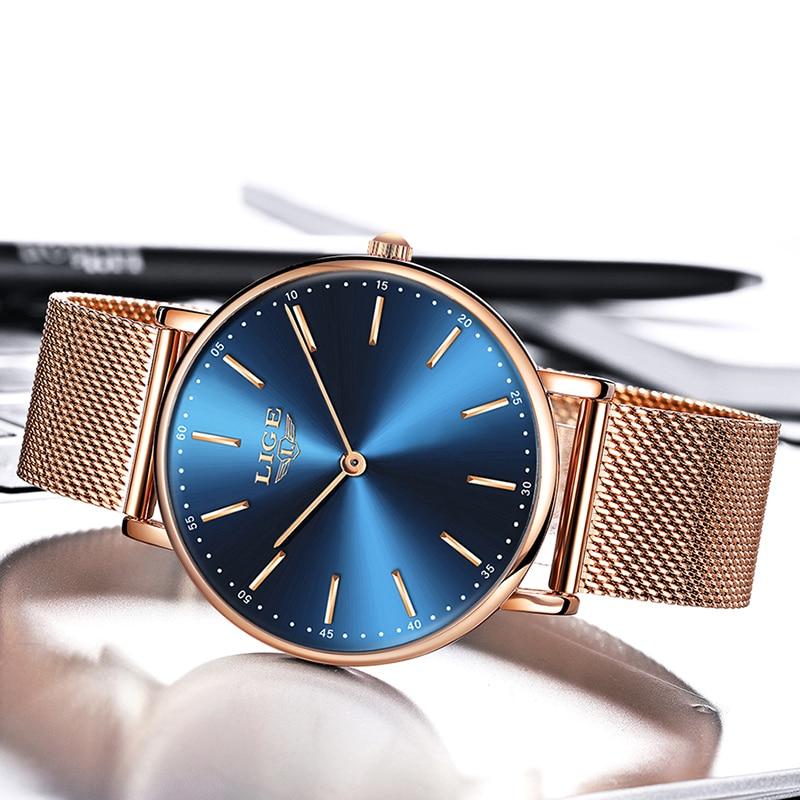LIGE New Rose Gold blue Women Watch Business Quartz Watch Ladies Top Brand Luxury Female Wrist Watch Girl Clock Relogio Feminin enlarge
