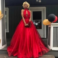 new arrival sexy high neck royal blue red prom dresses long 2019 backless party dresses tulle red ball gown evening dress